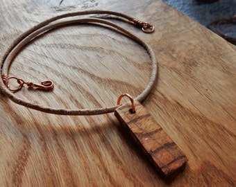 Handmade WoodenOnion Statement Necklace made from ZebraWood, Copper and Leather