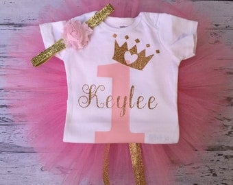 Personalized Pink and Gold First Birthday Outfit, Pink and Gold Birthday Outfit, Pink Gold 1st Birthday Bodysuit, Princess 1st Birthday