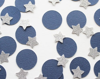 "Silver and Navy 1"" Circle and Star Confetti/ 100 Count/Party Decoration/ Birthday/ Wedding/ Bridal Shower/ Baby Shower/ Table Confetti"