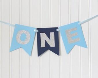 Silver,Navy, Blue ONE High Chair Banner Happy Birthday Banner/ Boy Birthday/ Prince Party/ Child Birthday/ Party Decorations/ 1st birthday