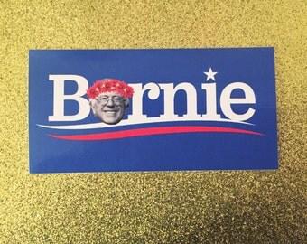Bernie Sanders flower crown sticker 2x4 in liberal political sticker 2016
