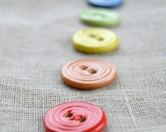 Rainbow Buttons, Ceramic Buttons, Sew on Buttons