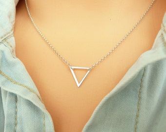 Sterling Silver Triangle Necklace,  Tiny Triangle Necklace, Gold Triangle Necklace, Thin Chain Necklace, Minimalist Necklace