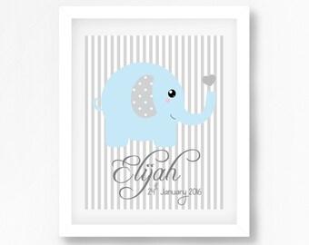 Gift for Baby, Baby Shower Gift, New Baby Print, Baby Boy Nursery Print, Elephant Nursery Wall Art, Blue and Grey Nursery Decor,