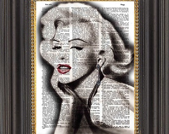 Marilyn Monroe Art Print, Marilyn Print on Antique Dictionary Paper, Marilyn Art on Vintage Dictionary Page, Dictionary Print
