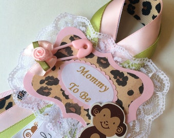 Monkey baby shower corsage/Girl monkey baby shower corsage/Safari baby shower corsage/Mommy to be corsage