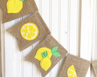 "Custom Length ""Lemonade"" Felt Lemons Burlap Banner Bunting for party, concessions, lemonade stand, birthday, wedding, outdoor, decor,"