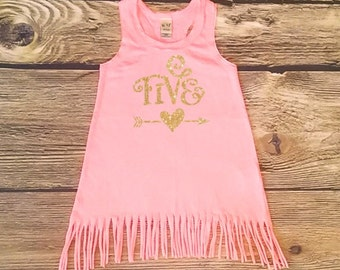 Fifth Birthday Dress Baby Girl Gold Glitter Birthday Outfit Toddler Girls Gold Sparkle Tank Top Five Years Old Birthday Shirt Fringe Dress