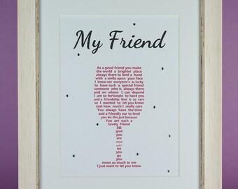 Friend Gift, Best Friend Gift, Wine Glass Gift, Personalised Friend Gift, Friend Christmas Gift, Unframed Friendship gift