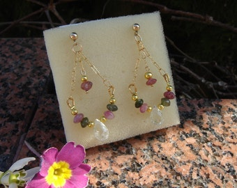 Gemstone earrings, 585 gold filled with tourmaline and green amethyst
