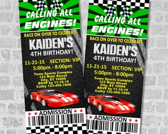 Printed Race Car Birthday Party Ticket Invitation, Custom Racing Party Ticket Invites