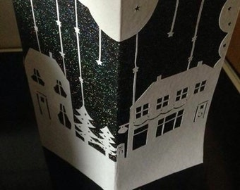 DIY Papercutting trifold christmas card template