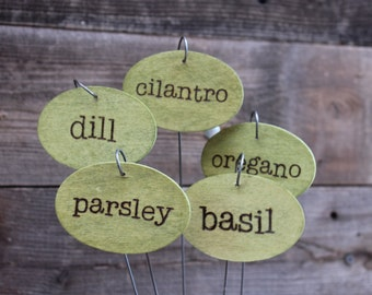 Made to order hand stained and hand burned vegetable garden markers / garden signs / plant tags