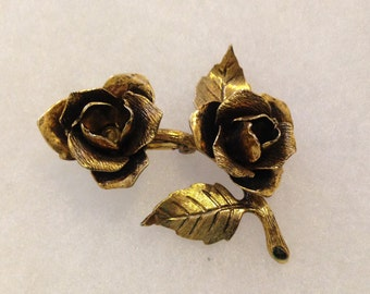 Vintage Antiqued Gold Tone Rose Brooch