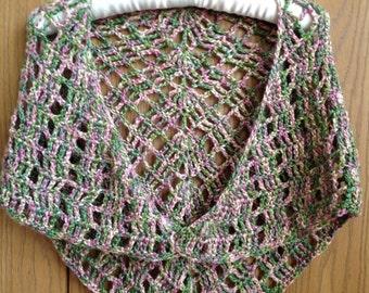 Clearance ~ Shawl ~ Crochet Shawl Shrug ~ Boho Style Shawl ~ Prayer Shawl ~ rose garden triangle shawl