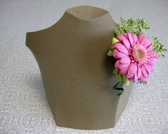 Handmade Paper Gerbera Daisy and Conifer Corsage