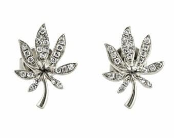 0.13ct Round Pavé Diamonds in 14K White Gold Cannabis Leaf Stud Earrings - CUSTOM MADE