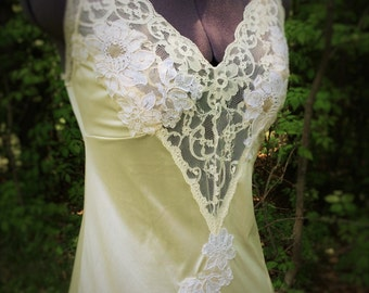 Ivory boho slip dress, semi-sheer boho wedding dress with vintage lace