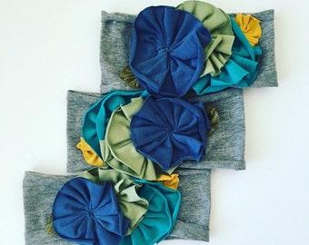 Flowered jersey knit headband || multi blues