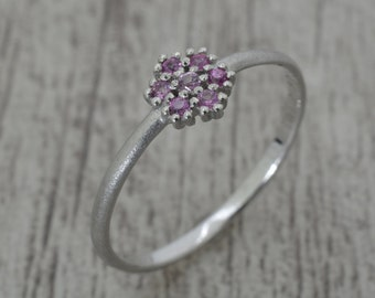 Silver ring with Amethyst, narrow ring