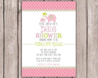 PRINTABLE- Elephant Baby Shower Invite- Baby Shower Invite- Girl Baby Shower Invite- Shower Invite- 5x7 JPG