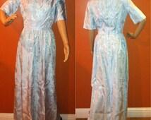 Vintage 1950s Blue Brocade Cinderella Princess Ball Gown Maxi Dress / Halloween Costume Fairytale Zip Up Short Sleeve / Size Small