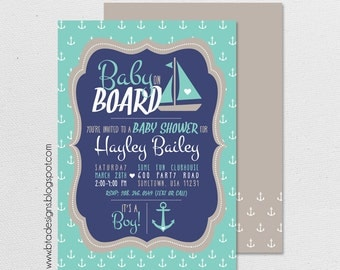 Nautical Baby Shower Invitation 4 for Boy, Girl, or Gender Neutral, Customized, Digital