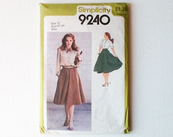 Vintage Skirt and Shirt Pattern, Simplicity Sewing Pattern 9240, Misses Size 12, Dirndl Skirt, Long / Short Sleeve Shirt, UNCUT, 1980, 01009