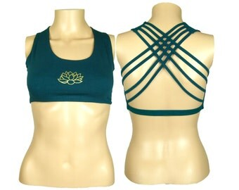 Lotus Dark Teal Yoga Bra Top  -Lotus Flower Racerback workout bra - Athletic bra -  sports bra - Hot Yoga Bra Top - Lycra Cotton Blend