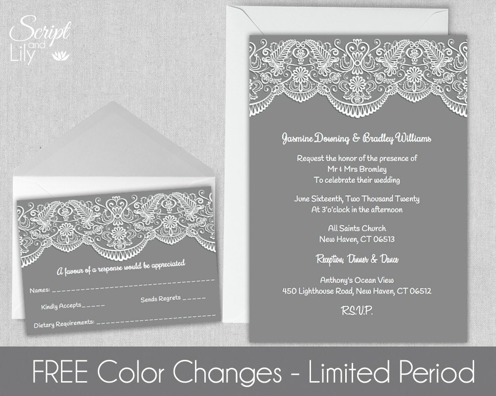Lace Wedding Invitation Template FREE Response Card – Pages Invitation Templates Free
