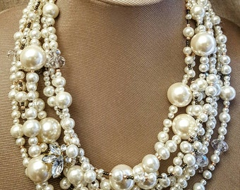 Extra large pearl and crystal multistrand statement necklace, chunky pearl wedding necklace, 2017 trending jewelry, Boho bridal pearl choker