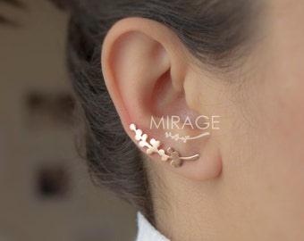 Leaves Ear Cuffs / Sterling Silver Ear Climber  - Spring Twig Ear Cuff
