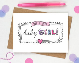 New baby girl card, Card for baby girl, It's a girl card, New baby card, Baby girl, Card for new baby, Congratulations baby card, Hello baby