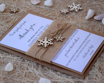 Christmas Thank You Cards, Winter Thank You Cards, Thank You Cards, Burlap Thank You Notes, Rustic Thank You Cards