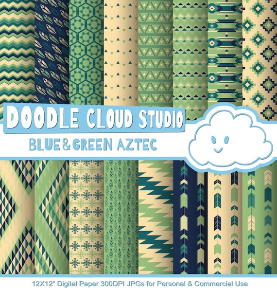 Blue And Green Aztec Digital Paper ,Tribal Patterns Native