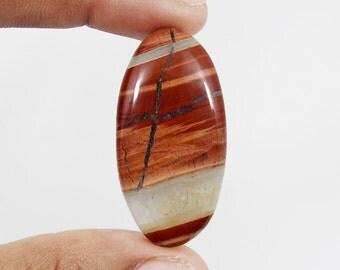 Red River Jasper Cabochon 55ct (41x20x4 mm) Oval Shape Natural Gemstone NS-5764