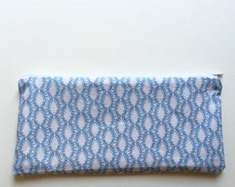 Blue & White Floral Zipper Pouch