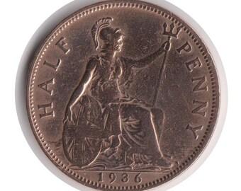 George V Half Penny 1936 Coin (Polished) (Code: JMC1850)