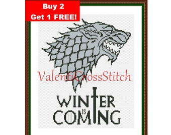 WINTER IS coming, Game of Thrones cross stitch pattern, PDF counted cross stitch pattern, Cross Stitch.