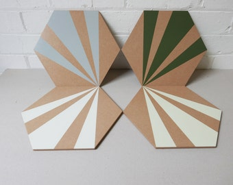 Wooden Geometric Hexagon Placemats   | Set of 4