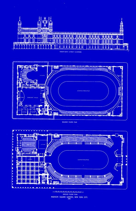 Old Madison Square Garden 455 By Blueprintplace2 On Etsy
