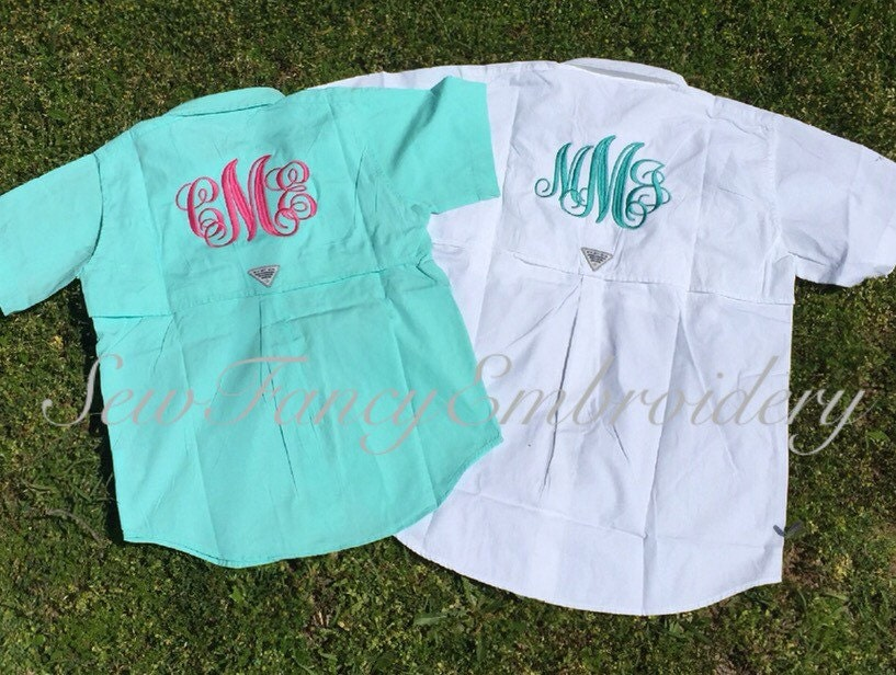 Kids monogrammed fishing shirt columbia fishing shirt for Monogram fishing shirt
