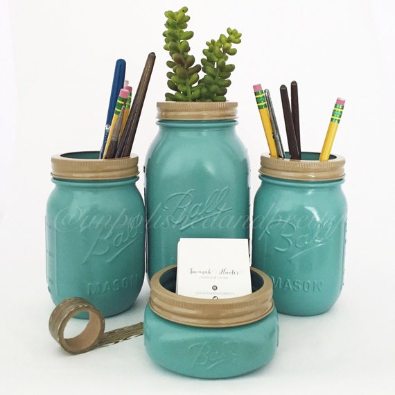 Items similar to mason jar desk set desk organization - Desk organization products ...