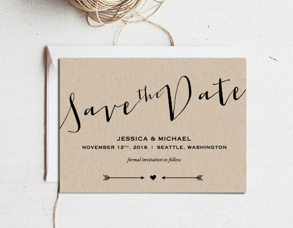 Printable Save the Date Save the Date template Editable text