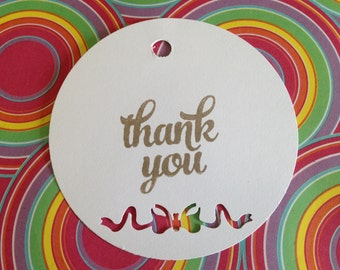 Thank you tags, gift tags, swing tags, hand stamped round tags, hand punched tags, set of 10, wedding tag, gift tag, birthday tag