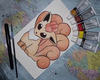 Pokemon Inspired Vulpix Watercolor Painting