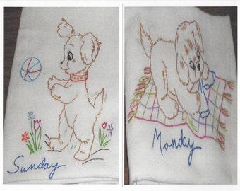 Cute Dog Puppy Kitchen Flour Sack Dish Towel Set of 7