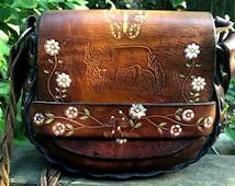 1970s Shoulder Bag ~ Enchanted Woodland Creatures/ Hand Tooled Hippie Satchel/ Vintage Leather Bag / Festival Bag / 70s leather bag