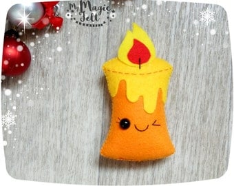 Christmas ornaments Candle felt ornament for Christmas tree decorations Christmas Candle ornaments Cute felt ornament Christmas favors