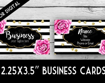 DIGITIAL - Double-Sided BUSINESS CARDS - Pink Peonies, Business Cards, Marketing Tools, Calling Cards, Gold Glitter, Stripes